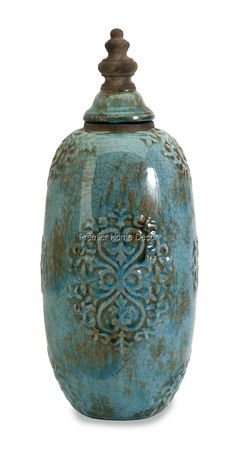 Old World Tuscan Ceramic Urn Jar With Lid Rustic Crackled Finish Finial Top- this is in my bathroom.  Love it.