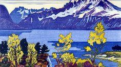 Tresnitt «Når fjordene blåner» er tittelen Nils Christian Istad har gitt dette tresnittet fra 1997. Motivet er fra Emblem med utsikt mot Hjørundfjorden.