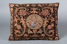 embroidered cushion depicting Saint Peter, late 1500s