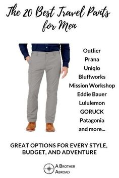 Discover 15 perfect mens travel pants for every adventure. Chinos that can wear for a week, techy lightweight jeans, hybrid hiking pants and Best Travel Pants, Travel Shirts, Travel Guides, Travel Tips, China Travel Guide, Hiking Pants, Hiking Gear, Travel 2017, Mens Travel