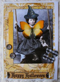 Altered art with butterfly paperwhimsy sweet little face and nifty witchy hat
