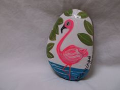 Hand+painted++on+river+rock+a+pink+flamingo+by+Wendysartshop,+$15.00