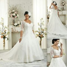 Half Sleeves Plus Size Wedding Dresses 2016 A-line White Tulle Appliques Lace Bandage Bridal Gowns Elegant Maxi Dress For Big Size Brides Item Code- 372806764 White, Size 24W $159 http://m.dhgate.com/product/half-sleeves-plus-size-wedding-dresses-2016/372806764.html?f=bm 372806764 002002-WeddingDresses GMC 712739420 pla firstladybridals US 002002001-A-LineWeddingDresses m  #pd-002