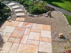 Sandstone tone Paving with Earthy Wooden Spine. Landscape Design, Garden Design, Ireland Landscape, Garden Landscaping, Earthy, Sidewalk, Construction, Courtyards, Front Yard Landscaping