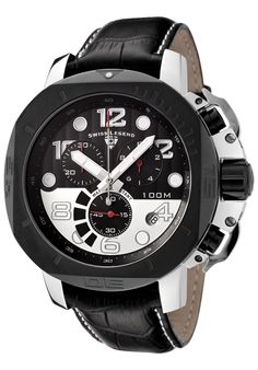 Swiss Legend Watches Scubador Chrono Black Genuine Leather Black and Silver-Tone Dial 10538-01-BB-SP,    #SwissLegend,    #1053801BBSP,    #Casual