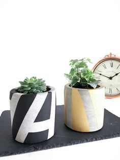 Handmade Concrete plant pots, Concrete planters, Grey / Rose Gold / Black concrete pots, succulent planter
