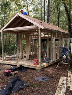 How to Build Your Own Tiny Cabin <br> This is Brad's tutorial on how to build your own tiny cabin on a foundation. This gives you a good idea on the basic construction of a house and what it takes to get it done. To explore more … Tiny Cabin Plans, Small Log Cabin, Cabin House Plans, Cabin Floor Plans, Tiny House Cabin, Little Cabin, Tiny House Design, Cabin Homes, Small Cabins