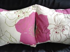 Throw pillow covers pink flower pattern Cushion cases shams UK designer fabric Two 16 x 16 inch handmade