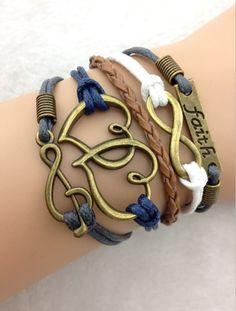 Faith, Infinity, Music Heart Bracelet $8 http://www.sixshootergiftshop.com/collections/multiple-stranded-bracelets/products/faith-infinity-music-heart-bracelet