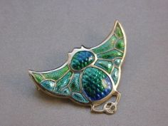 Superb Art Nouveau Silver Enamel Bat Brooch by Charles Horner