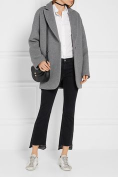 Gray wool-blend felt Button fastening at front 70% wool, 30% polyester; lining: 100% viscose Dry clean Made in Italy