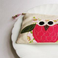 pink owl zipper pouch