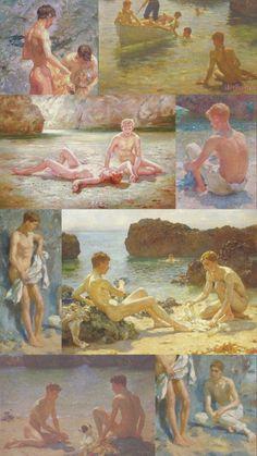 Collage of Henry Scott Tuke paintings Gay Apparel, Mermaid Boy, Spoke Art, Scenery Paintings, Yiff Furry, Gay Aesthetic, Gay Comics, Nagasaki, Gay Art