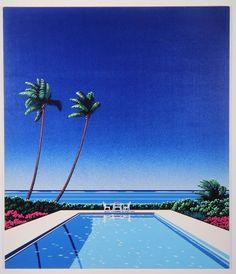 Pin on Art - Water, Ocean, River, Lake Art Deco Artwork, Vaporwave Art, Animation Background, Mid Century Modern Art, Retro Aesthetic, Retro Art, Japanese Art, Art Drawings, Illustration Art