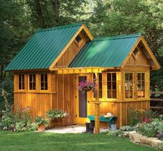 With the addition of workbenches and shelves, the smaller 5-1/2 ft. x 8-ft. room makes a perfect potting shed. The concrete paver floor, natural cedar siding and steel roofing add up to a low-maintenance shed that will last for generations.