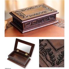 NOVICA Handcrafted Colonial Wood and Leather Jewelry Box ($62) ❤ liked on Polyvore featuring home, home decor, jewelry storage, brown, clothing & accessories, handcrafted leather, jewelry, jewelry boxes, handcrafted wooden jewelry box and wood jewelry chest