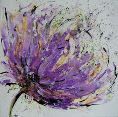 Abstract Flower - Purple - Acrylic on Canvas (Deep Edge) with Resin Finish