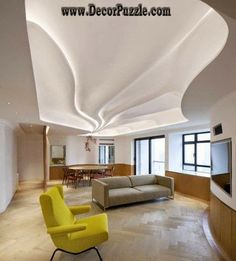 wavy ceiling design with led lights, plaster of paris designs 2015