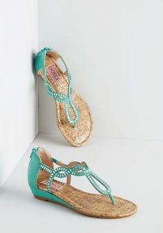 Sparkle of Genius Sandal in Aqua. These aqua sandals from Dolce by Mojo Moxy always keep you feeling brilliant! #mint #modcloth