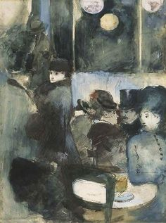 Jean-Louis Forain (French painter, Au Cafe 1879 Well, except for the costumes, today's social season seems to share many c. European Paintings, Old Paintings, Jean Leon, Georges Seurat, Mary Cassatt, Cafe Art, Impressionist Artists, Royal Academy Of Arts, Pierre Auguste Renoir