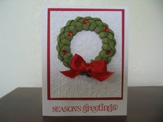 Love this idea - got to watch video on how to do!  CCC11 NOV Card SUO Braided Ribbon Wreath by stampindoe - Cards and Paper Crafts at Splitcoaststampers