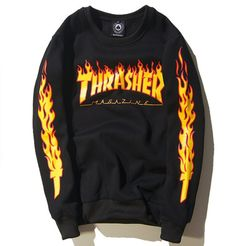 11a4a40bd Thrasher FIRE Sweatshirts Fire Sweatshirt Velvet Sweater, Men Sweater,  Thrasher, Men And Women