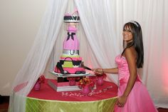 Fashion themed Quinceanera--Love the cake, her hair, makeup and dress!!