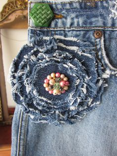 Denim flower easy cool idea you could make it a pin and wear on different stuff