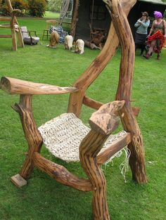 Chair with Tunisian crochet seat at Haughley Park, Suffolk