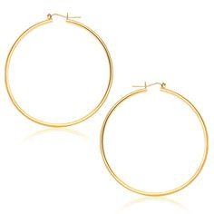 14K Yellow Gold Polished Hoop Earrings (45 mm)