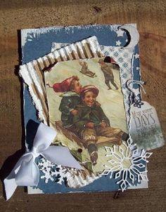 Sledding At Night  Christmas card - Scrapbook.com