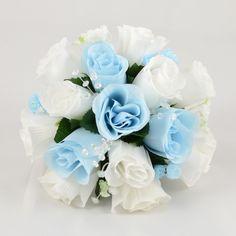 Baby Blue & White Rose Bridesmaids Posy