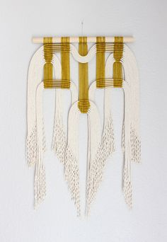 "Macrame Wall Hanging ""gld + wht"" by HIMO ART, One of a kind Handcrafted Macrame, rope art by HIMOART on Etsy https://www.etsy.com/ca/listing/474462073/macrame-wall-hanging-gld-wht-by-himo-art"