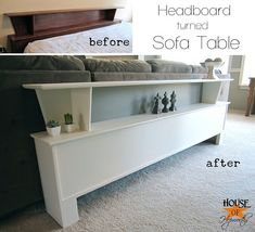 Re-purposing a headboard into a sofa table.  Complete tutorial at www.houseofhepworths.com
