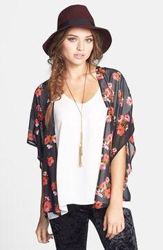 Socialite Floral Chiffon Kimono Cardigan (Juniors) | Nordstrom