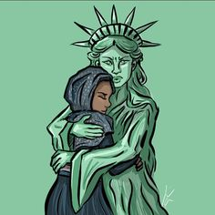 """This Statue of Liberty Drawing Became a Symbol of the """"No Ban, No Wall"""" Movement 
