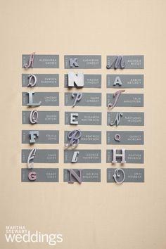 alphabet escort cards