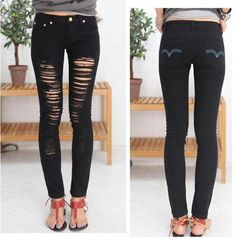 Black ladder ripped jeans