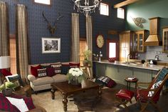Ivy League style living room on Extreme Makeover: Home Edition