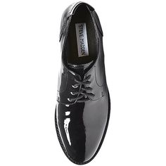 Steve Madden Women's Driller Oxford Shoes ($80) ❤ liked on Polyvore featuring shoes, oxfords, black patent, oxford shoes, retro shoes, black brogues, black low heel shoes and steve-madden shoes