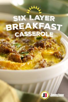 This Six Layer Breakfast Casserole recipe is layers and layers of deliciousness on deliciousness. The Tex-Mex popping flavors of Jimmy Dean Premium Hot Pork Sausage with signature seasonings, jalapeños and cheese 