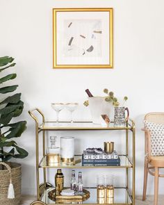 Shop August Abode accessories as seen in Shay Mitchell's office & featured in Elle Decor. Interiors by Stefani Stein. Photo by Carla Choy. Home Bar Decor, Bar Cart Decor, Diy Bar Cart, Home Goods Decor, Bar Cart Styling, First Home, Elle Decor, Home Decor Accessories, Decoration
