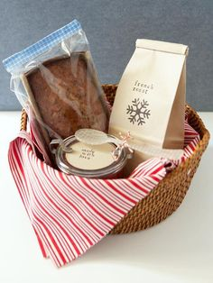 Make a Breakfast Gift Basket for the Holidays >>   http://diy-gift-ideas.blogspot.com  Amy modification:  honey, granola, bread, butter, and jam (as seen in marthastewart magazine - hostess gift.)