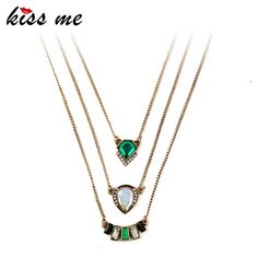 Fashion Personality Geometric Imitation Emerald Pendant Three Layers Necklace Like if you are Excited!Get it here ---> www.servjewelry.c... #shop #beauty #Woman's fashion #Products #homemade