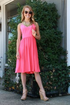 Amanda Uprichard Spring Pink Silk Dress // Krewe Sunglasses // DVF Nude Wedges // Statement Necklace // snapped by gracie