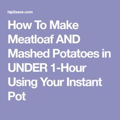 Make Instant Pot Meatloaf and Mashed Potatoes at one time in your Instant Pot. This is a great comfort meal your entire family will love. Crock Pot Cooking, Cooking Recipes, Instant Pot, How To Make Meatloaf, Recipe Boards, Pressure Cooker Recipes, Slow Cooker, One Pot Meals, Diabetic Recipes
