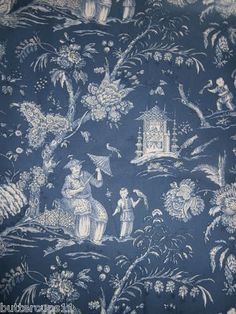CHINOISERIE TOILE DE JOUY FABRIC BLUE Ebay