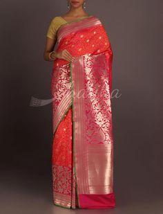 Ekta Shimmering Bootis Broad Bel Border Real Zari #BanarasiBrocadeSilkSaree