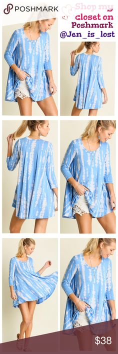 Blue Print Away with Me Tie Dye Tunic
