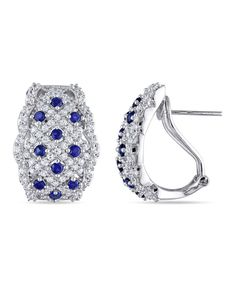 Take a look at this Sapphire & Silver Pavé Huggie Earrings on zulily today!